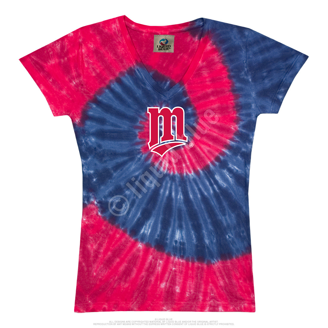 Minnesota Twins Spiral V Tie-Dye Juniors Long Length T-Shirt