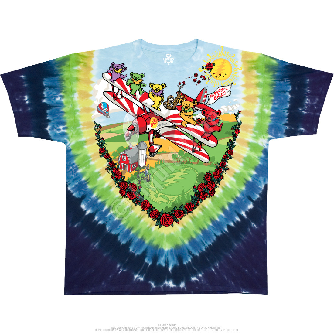 Bi-Plane Bears Youth Tie-Dye T-Shirt
