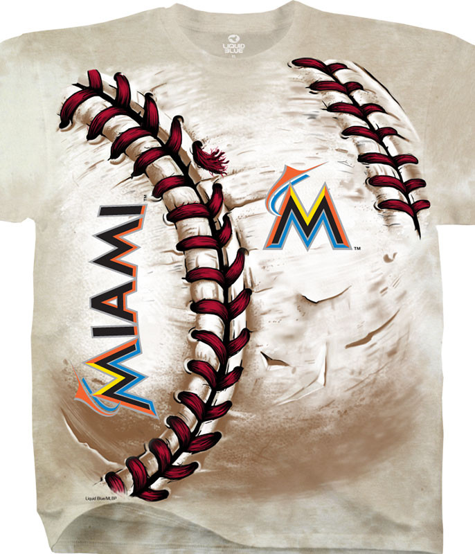 MLB Miami Marlins Hardball Tie-Dye T-Shirt Tee Liquid Blue