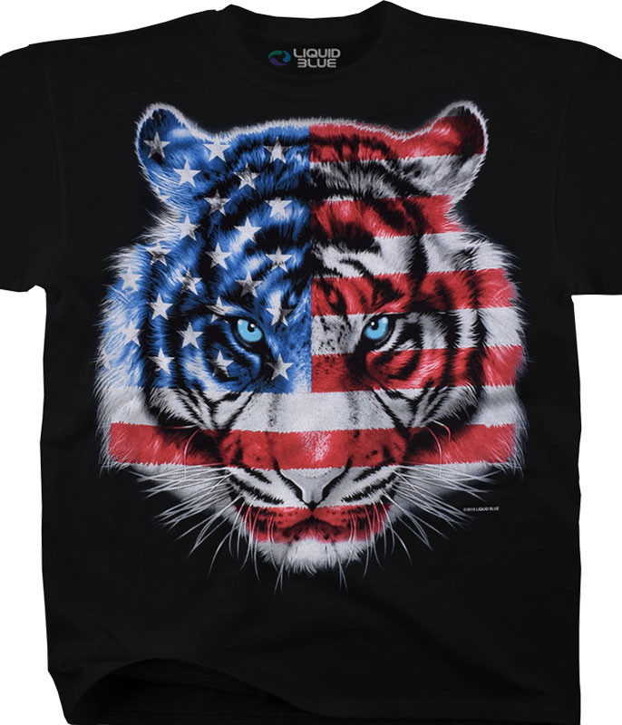 Americana Patriotic Tiger Black T-Shirt Tee Liquid Blue