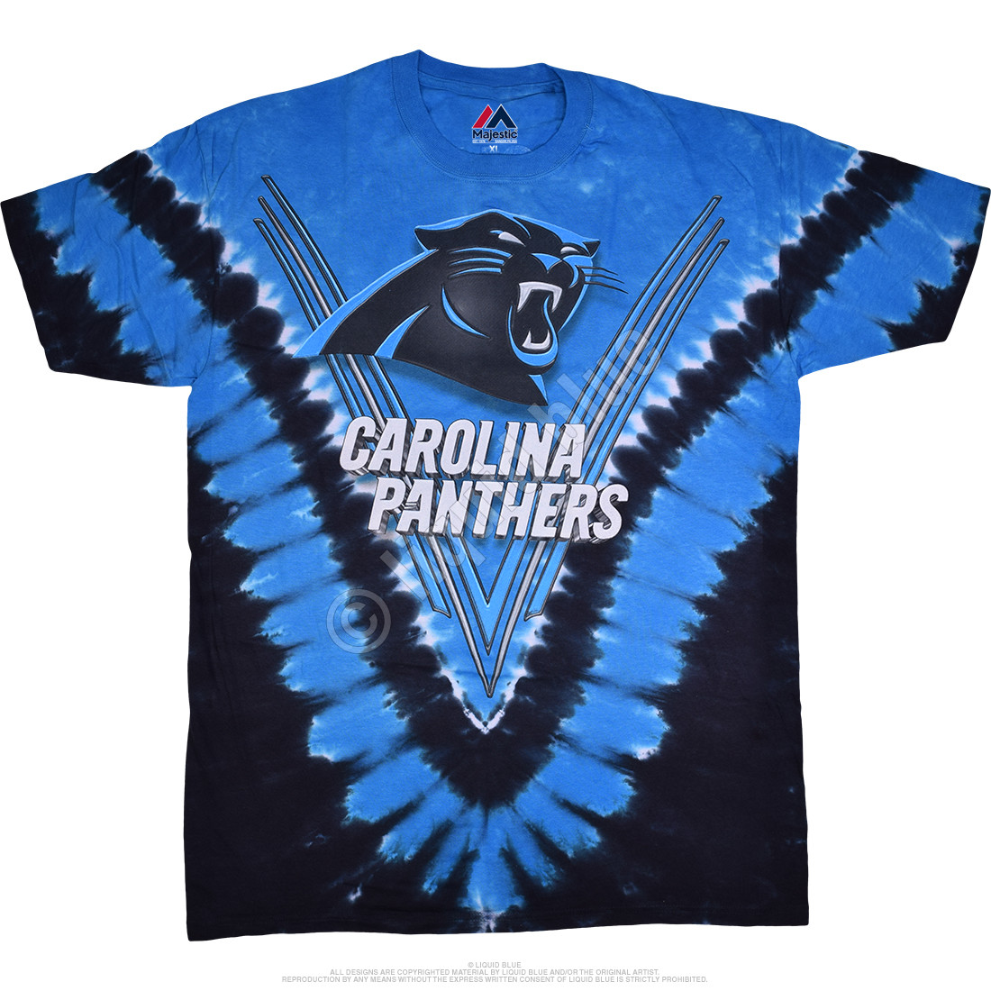 NFL Carolina Panthers V Tie-Dye T-Shirt Tee Liquid Blue c6cf3a8ce