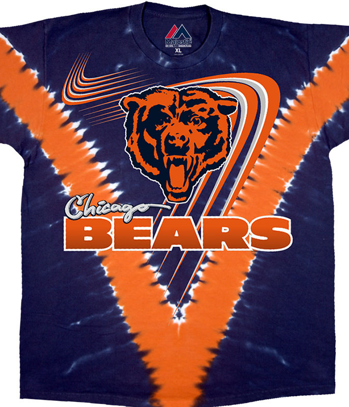 NFL Chicago Bears V Tie-Dye T-Shirt Tee Liquid Blue