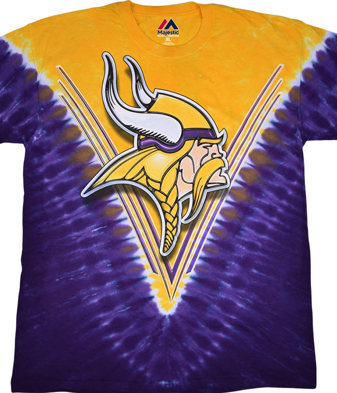 NFL Minnesota Vikings V Tie-Dye T-Shirt Tee Liquid Blue