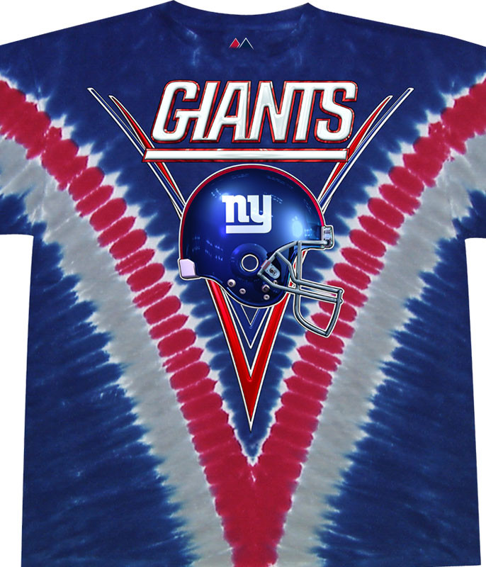 NFL New York Giants V Tie-Dye T-Shirt Tee Liquid Blue