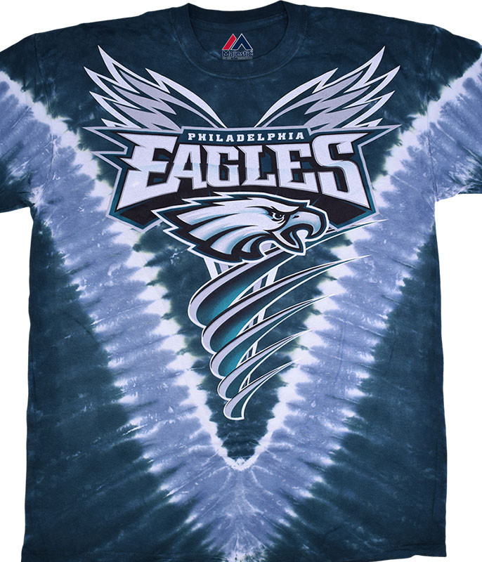 NFL Philadelphia Eagles V Tie-Dye T-Shirt Tee Liquid Blue