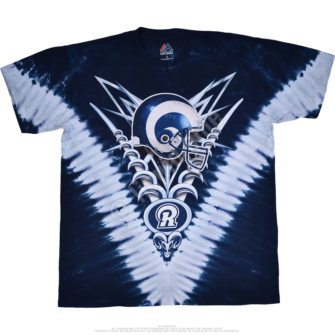 NFL Los Angeles Rams V Tie Dye T Shirt Tee Liquid Blue