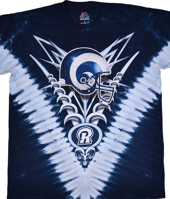 NFL Los Angeles Rams V Tie-Dye T-Shirt Tee Liquid Blue