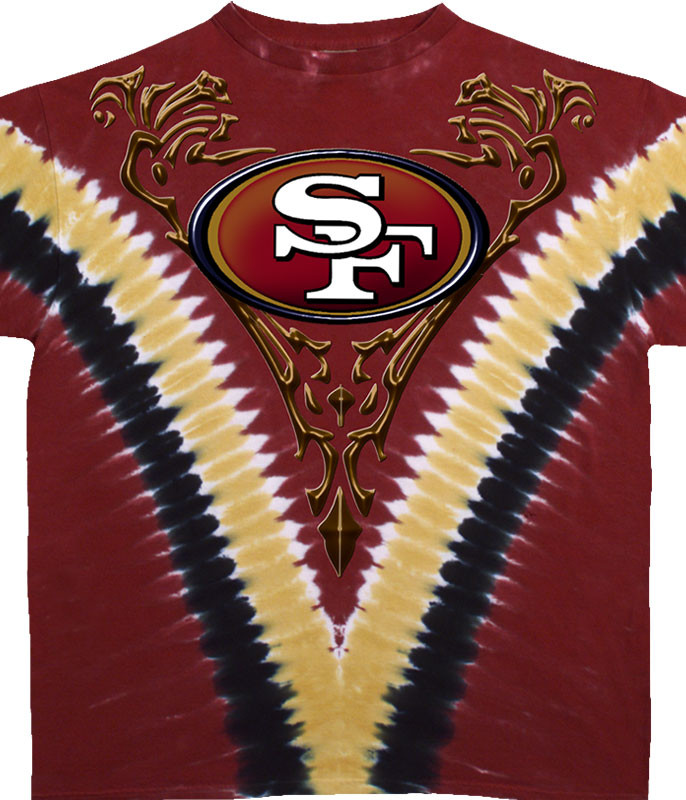NFL San Francisco 49ers V Tie-Dye T-Shirt Tee Liquid Blue