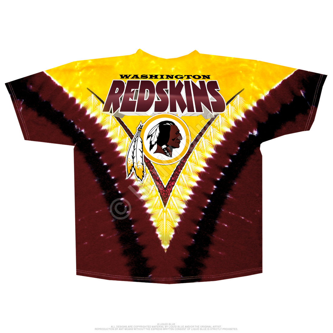 1faeffd17 NFL Washington Redskins V Tie-Dye T-Shirt Tee Liquid Blue