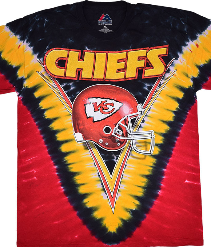 NFL Kansas City Chiefs V Tie-Dye T-Shirt Tee Liquid Blue