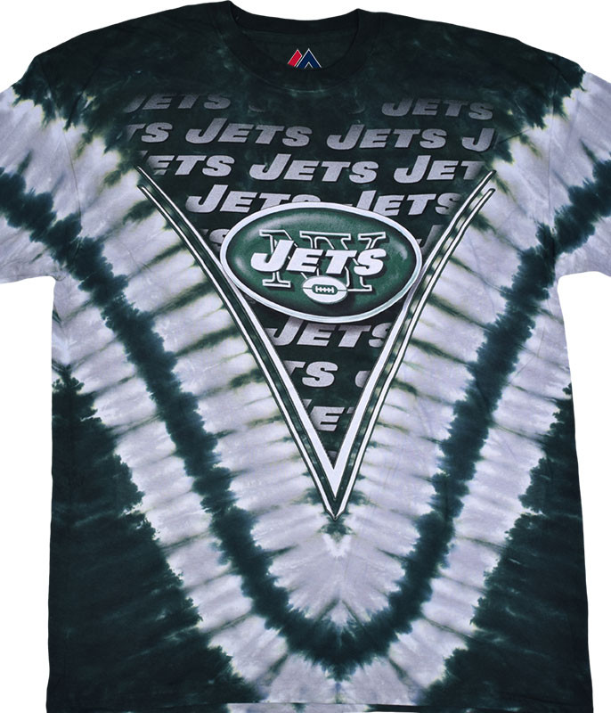 NFL New York Jets V Tie-Dye T-Shirt Tee Liquid Blue