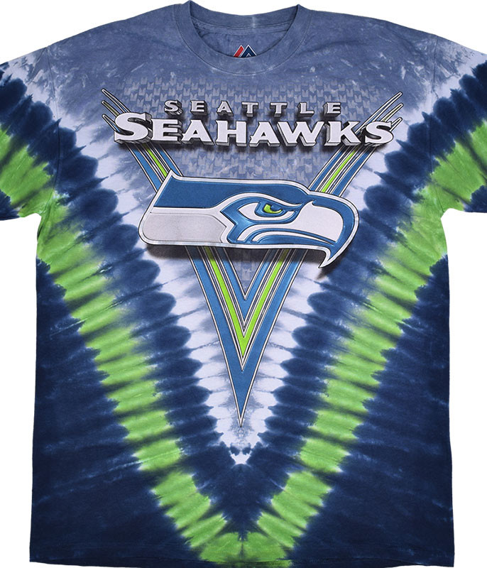 NFL Seattle Seahawks V Tie-Dye T-Shirt Tee Liquid Blue