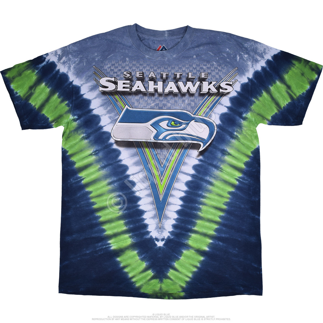 a47c34ae7 NFL Seattle Seahawks V Tie-Dye T-Shirt Tee Liquid Blue