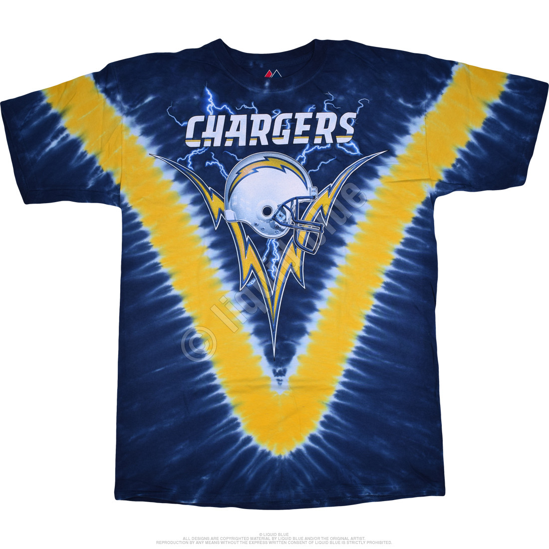 NFL Los Angeles Chargers V Tie Dye T Shirt Tee Liquid Blue