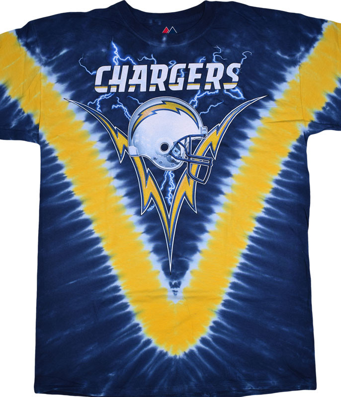NFL Los Angeles Chargers V Tie-Dye T-Shirt Tee Liquid Blue