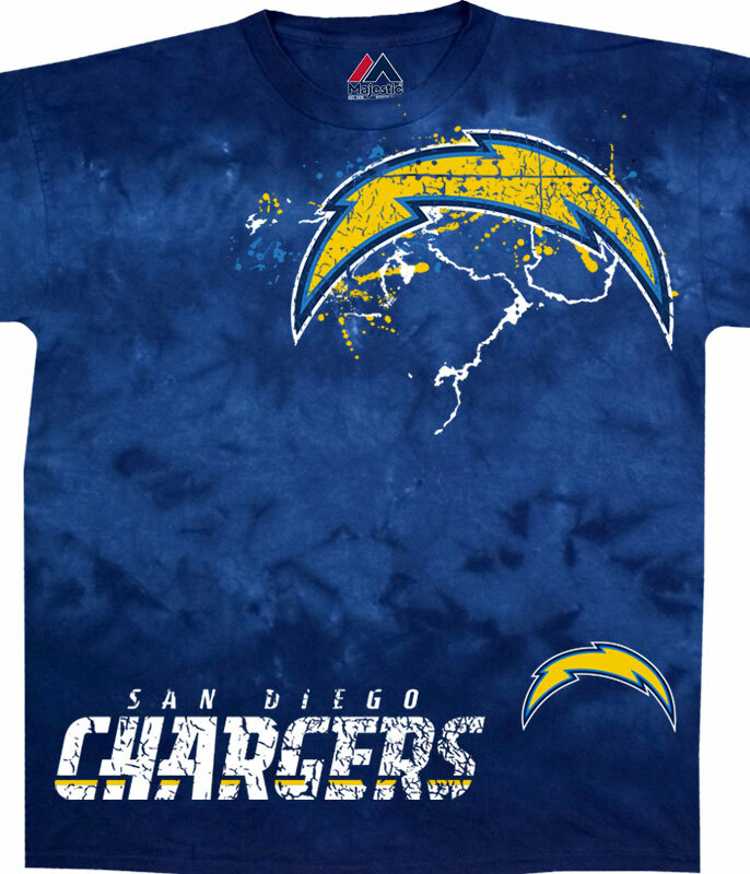 NFL Los Angeles Chargers Fade Tie-Dye T-Shirt Tee Liquid Blue
