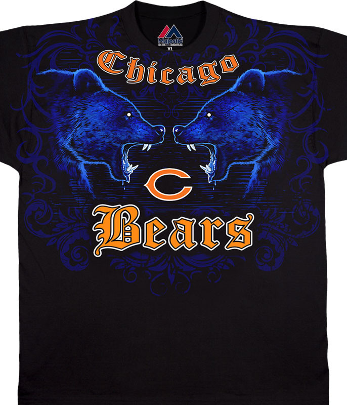 NFL Chicago Bears Face Off Black T-Shirt Tee Liquid Blue