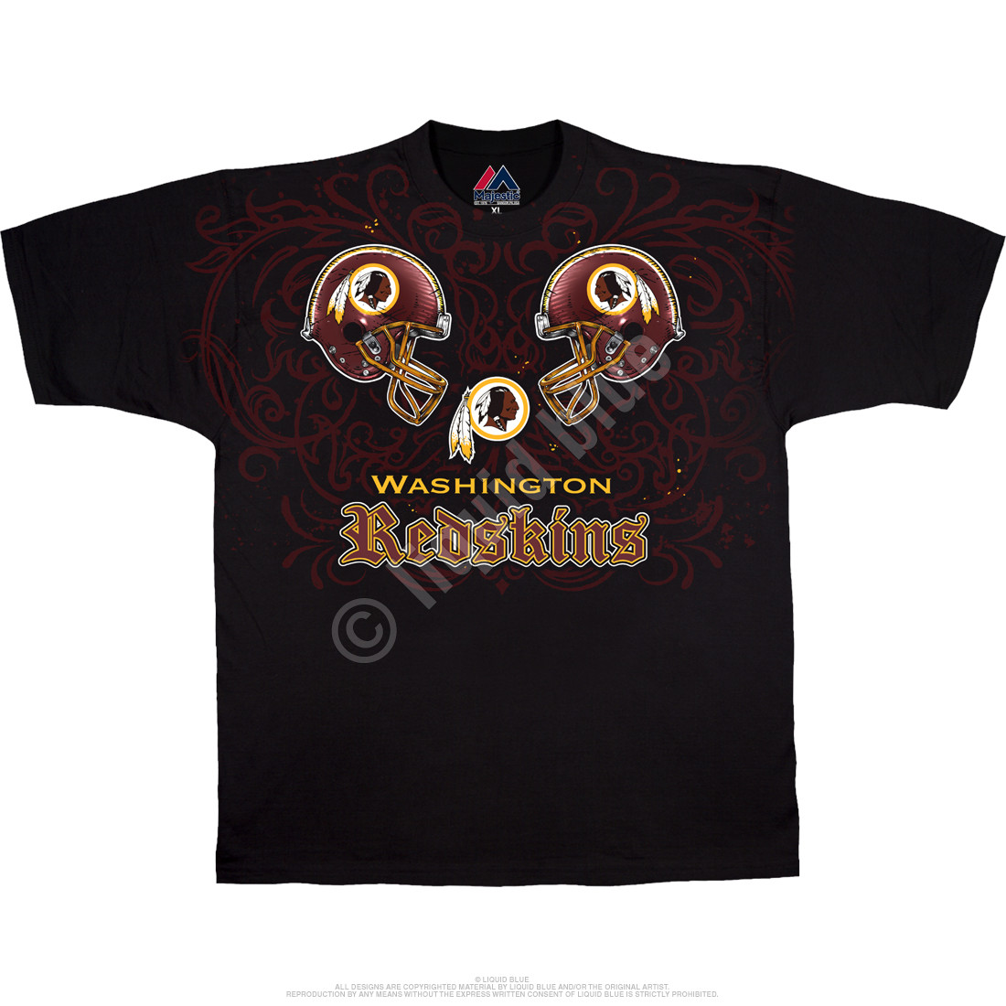 763d30a0635 NFL Washington Redskins Face Off Black T-Shirt Tee Liquid Blue