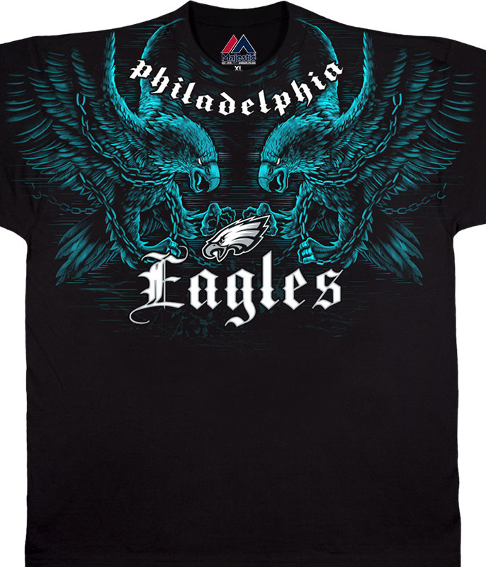 NFL Philadelphia Eagles Face Off Black T-Shirt Tee Liquid Blue