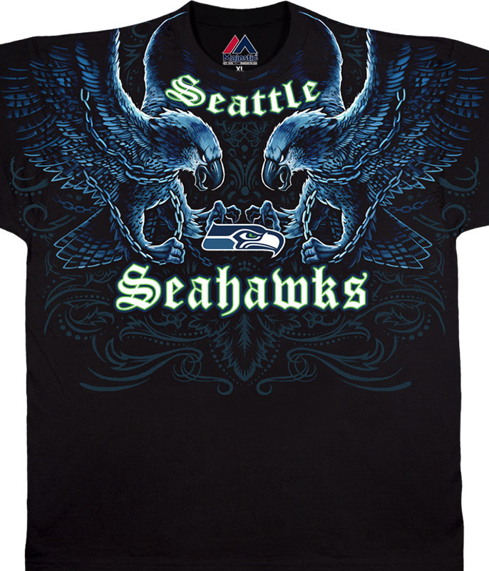NFL Seattle Seahawks Face Off Black T-Shirt Tee Liquid Blue