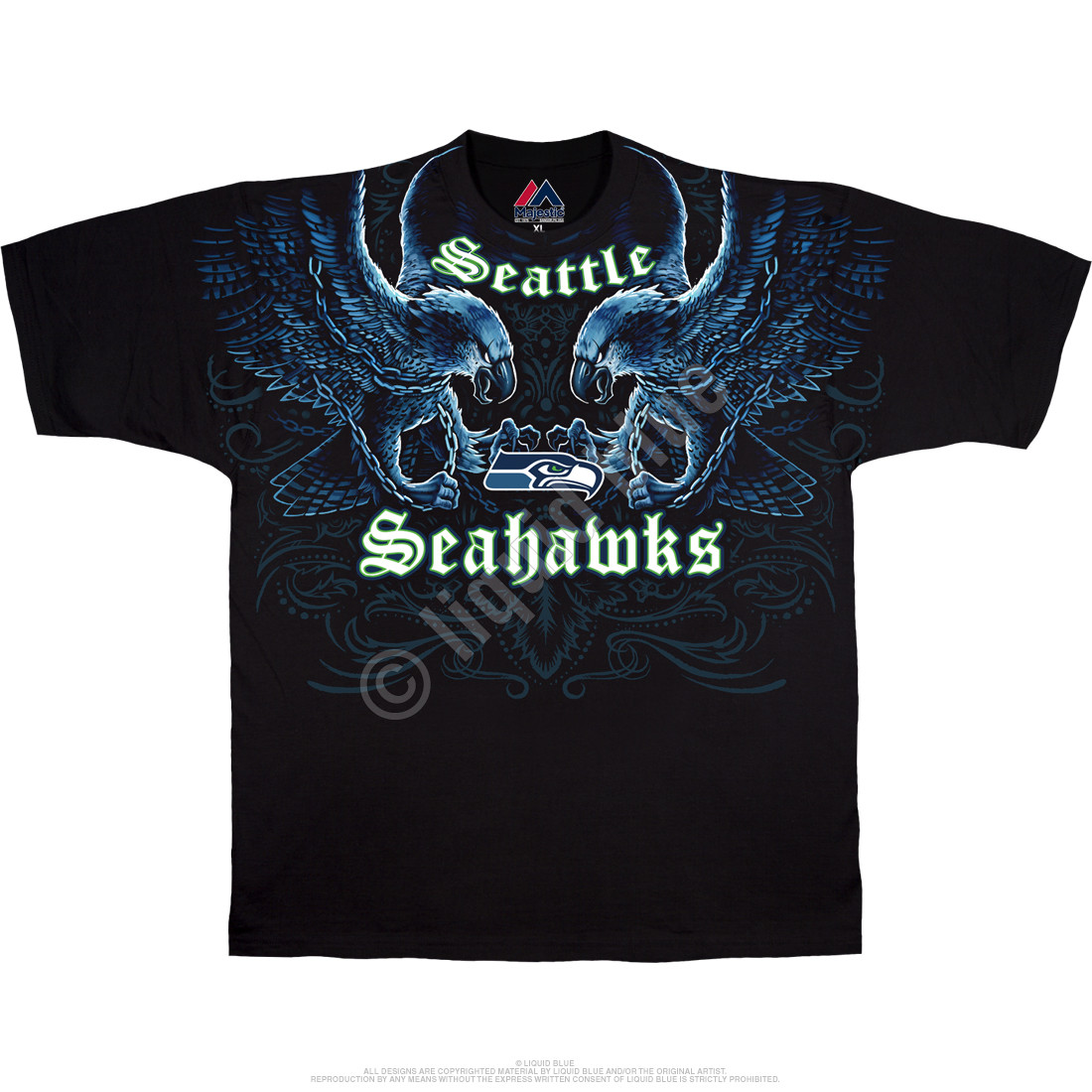 NFL Seattle Seahawks Face Off Black T-Shirt Tee Liquid Blue f714294c0