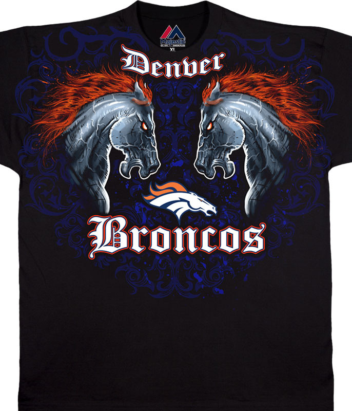 NFL Denver Broncos Face Off Black T-Shirt Tee Liquid Blue