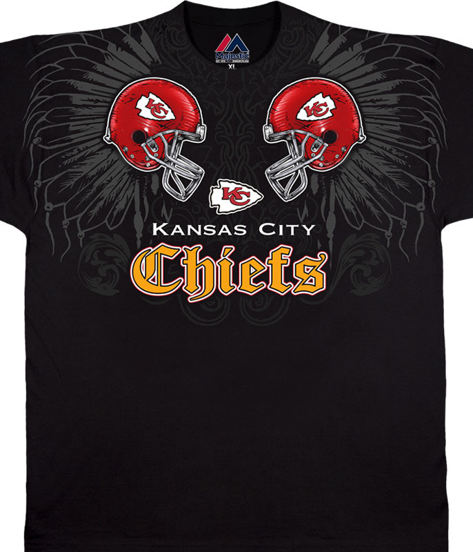 NFL Kansas City Chiefs Face Off Black T-Shirt Tee Liquid Blue