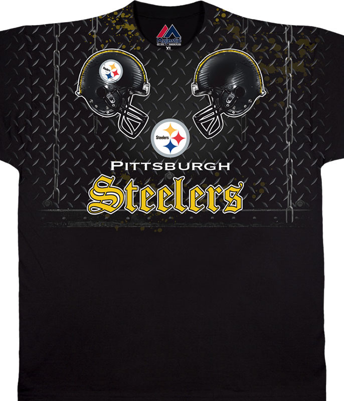 NFL Pittsburgh Steelers Face Off Black T-Shirt Tee Liquid Blue