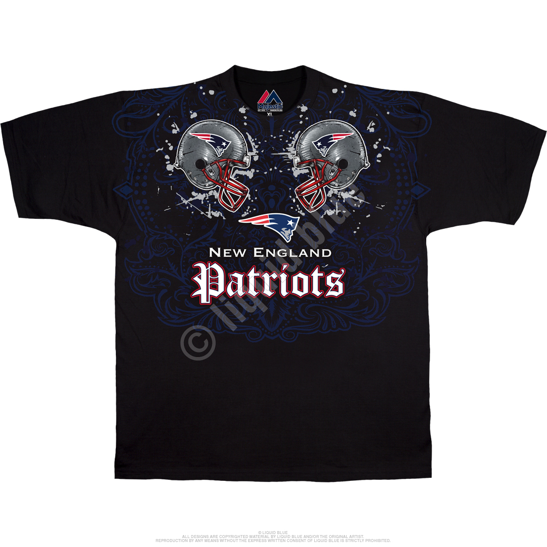 New England Patriots Face Off Black T-Shirt