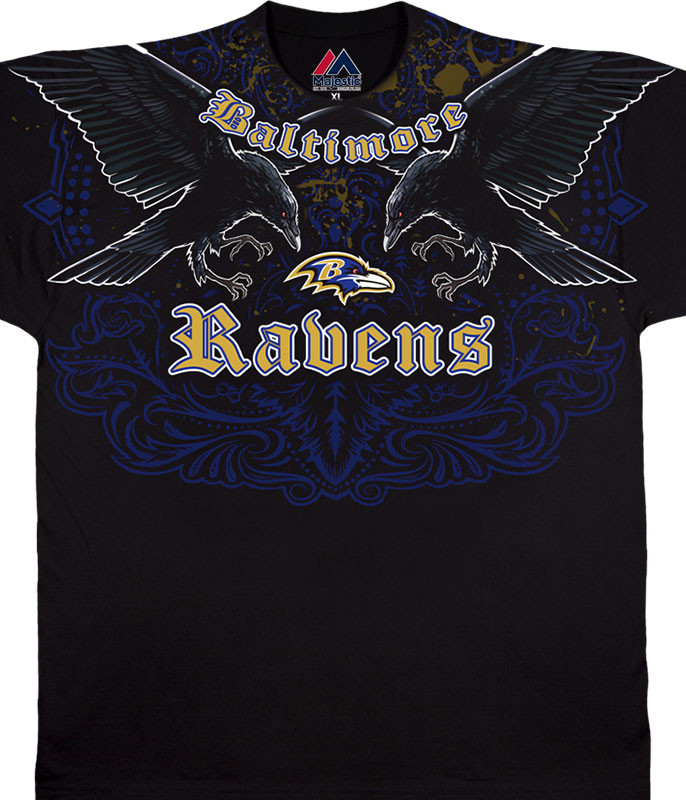 NFL Baltimore Ravens Face Off Black T-Shirt Tee Liquid Blue