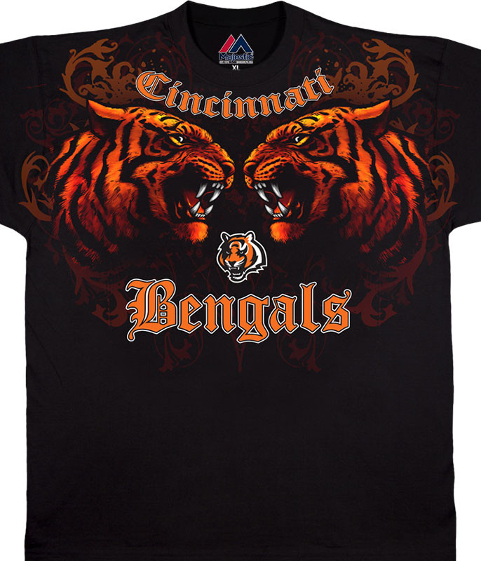 NFL Cincinnati Bengals Face Off Black T-Shirt Tee Liquid Blue