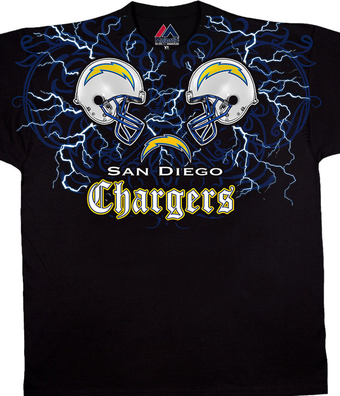 NFL Los Angeles Chargers Face Off Black T-Shirt Tee Liquid Blue