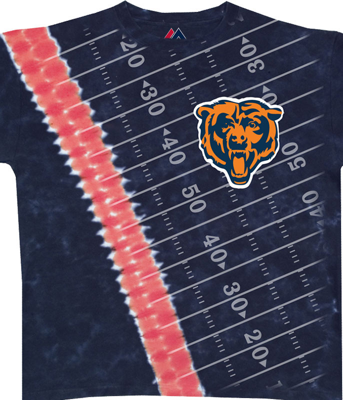 NFL Chicago Bears Hash Mark Tie-Dye T-Shirt Tee Liquid Blue