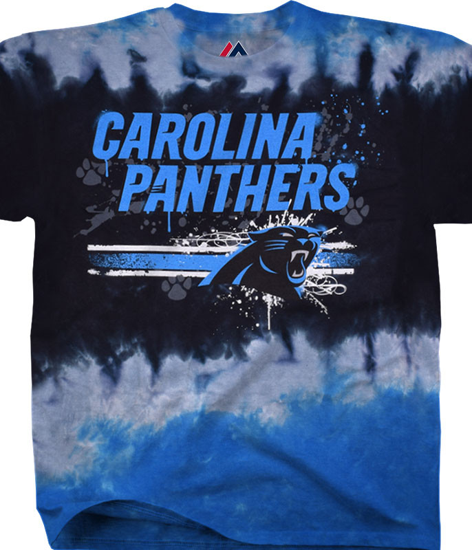 NFL Carolina Panthers Horizontal Stencil Tie-Dye T-Shirt Tee Liquid Blue