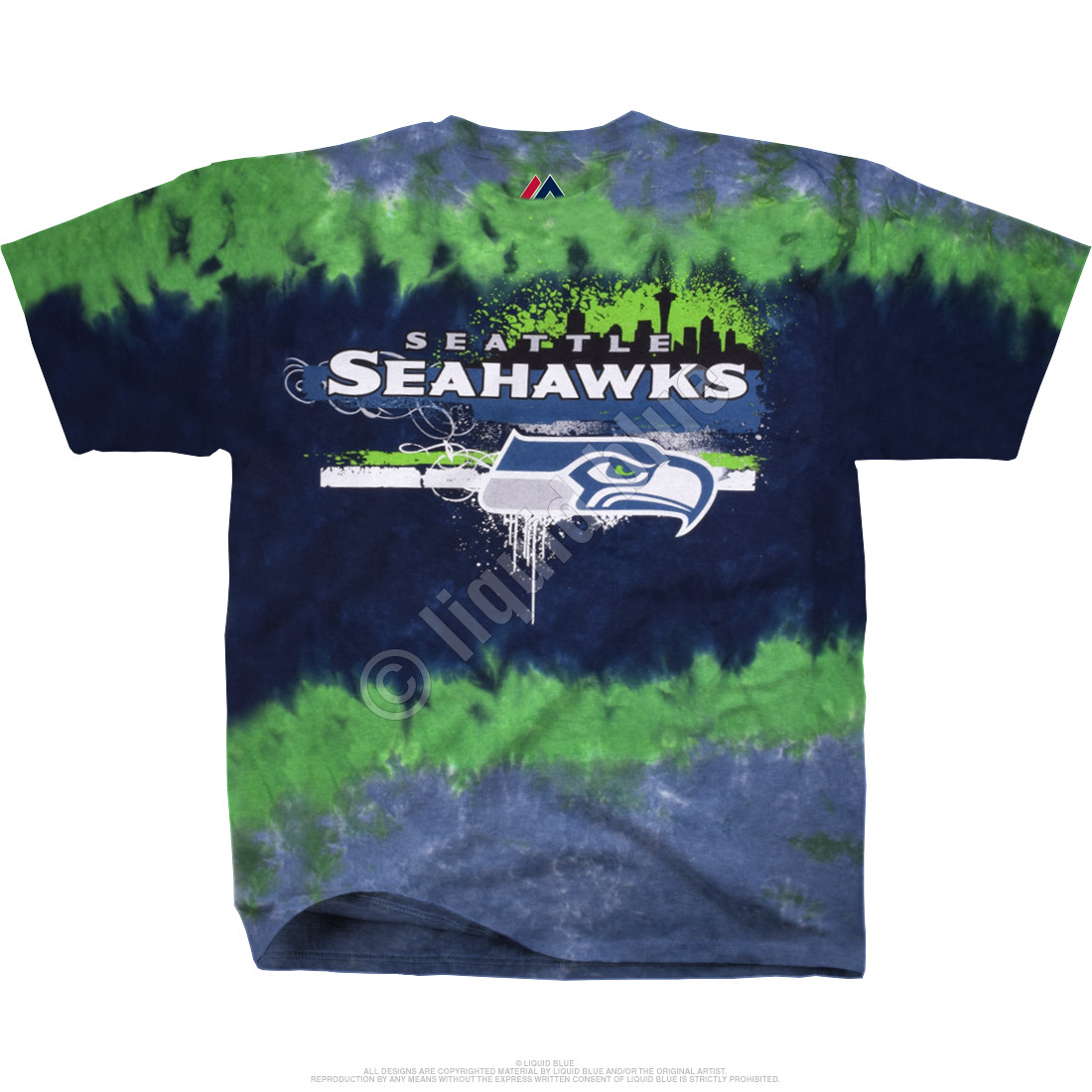 Seattle Seahawks Horizontal Stencil Tie-Dye T-Shirt