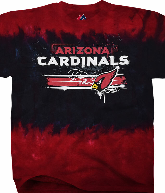 ARIZONA CARDINALS HORIZONTAL STENCIL TIE-DYE T-SHIRT