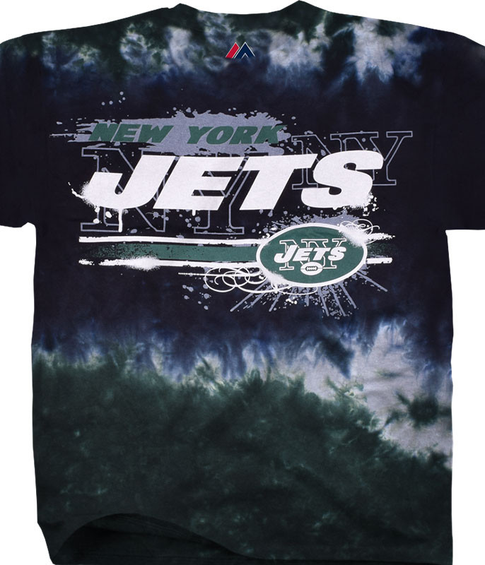 NFL New York Jets Horizontal Stencil Tie-Dye T-Shirt Tee Liquid Blue