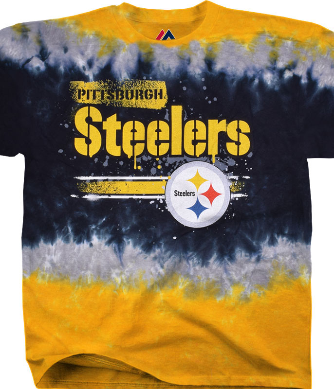 NFL Pittsburgh Steelers Horizontal Stencil Tie-Dye T-Shirt Tee Liquid Blue