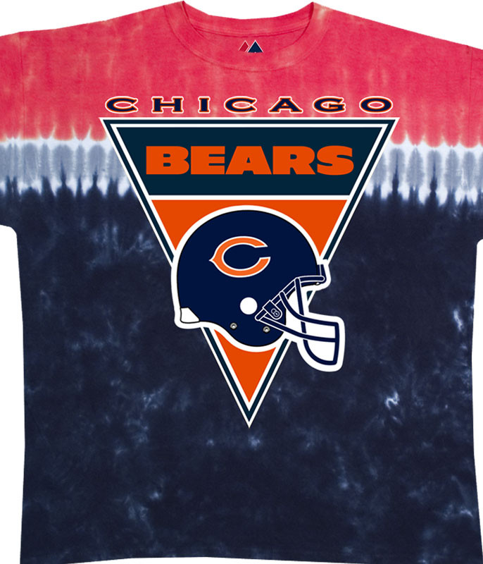 NFL Chicago Bears Logo Banner Tie-Dye T-Shirt Tee Liquid Blue