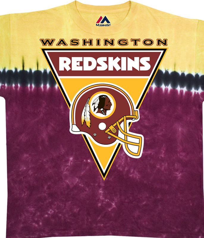 NFL Washington Redskins Logo Banner Tie-Dye T-Shirt Tee Liquid Blue