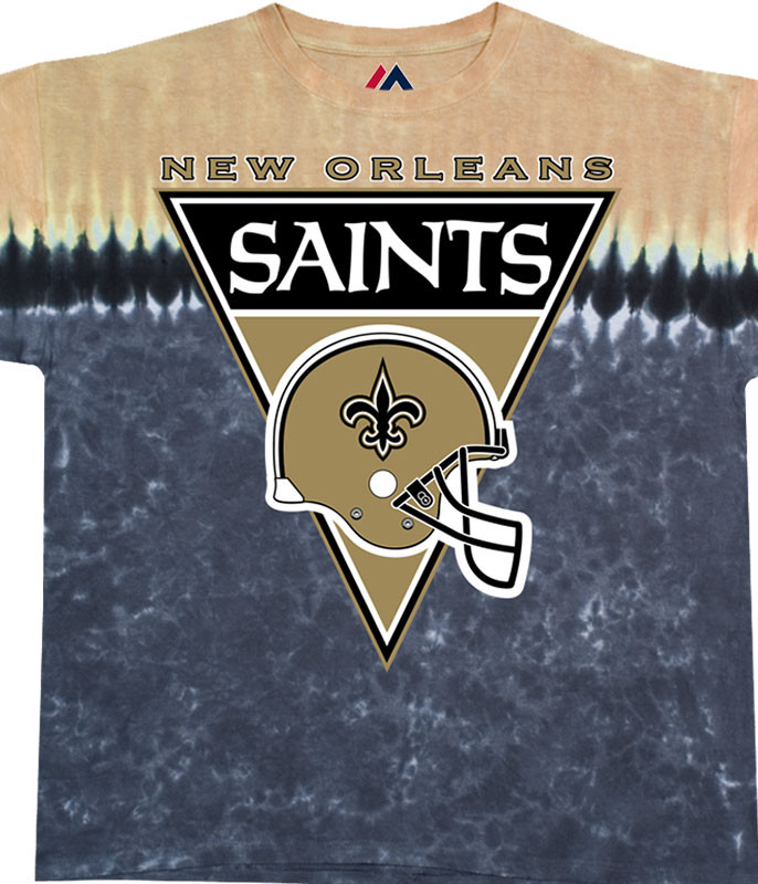 NFL New Orleans Saints Logo Banner Tie-Dye T-Shirt Tee Liquid Blue