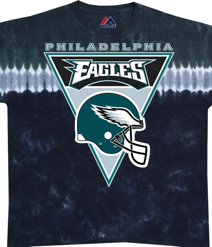 NFL Philadelphia Eagles Logo Banner Tie-Dye T-Shirt Tee Liquid Blue