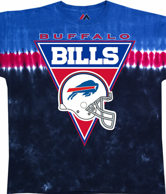 NFL Buffalo Bills Logo Banner Tie-Dye T-Shirt Tee Liquid Blue