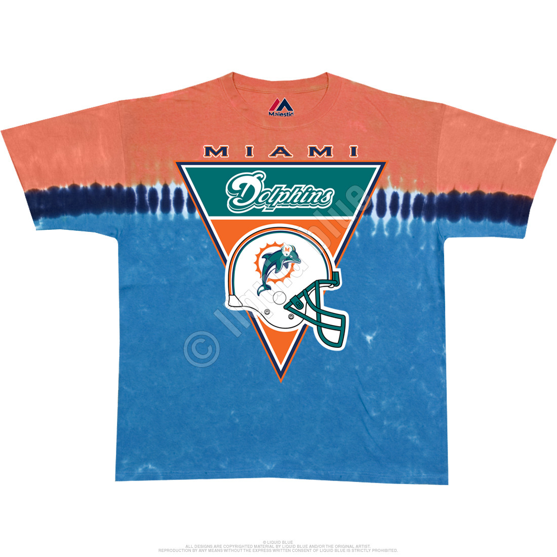Nfl miami dolphins logo banner tie dye t shirt tee liquid blue for Dolphins t shirt new logo
