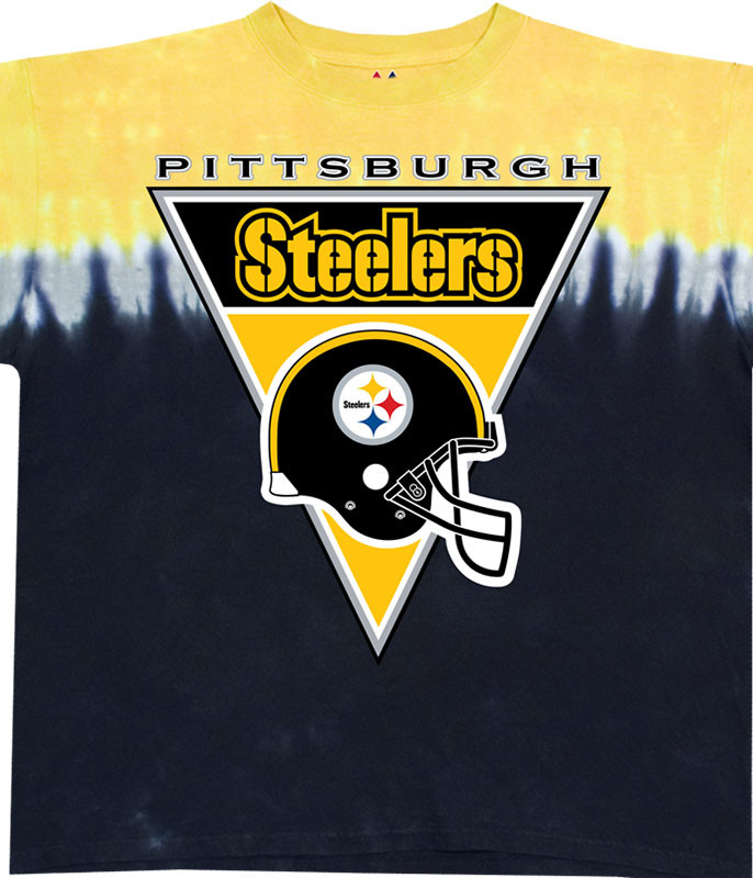 NFL Pittsburgh Steelers Logo Banner Tie-Dye T-Shirt Tee Liquid Blue