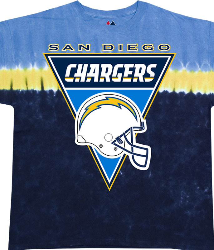 NFL Los Angeles Chargers Logo Banner Tie-Dye T-Shirt Tee Liquid Blue