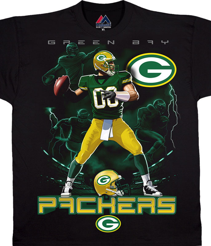 GREEN BAY PACKERS QAURTERBACK BLACK T-SHIRT