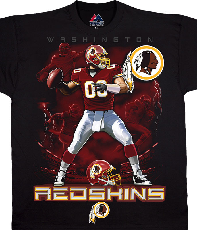NFL Washington Redskins Quarterback Black T-Shirt Tee Liquid Blue
