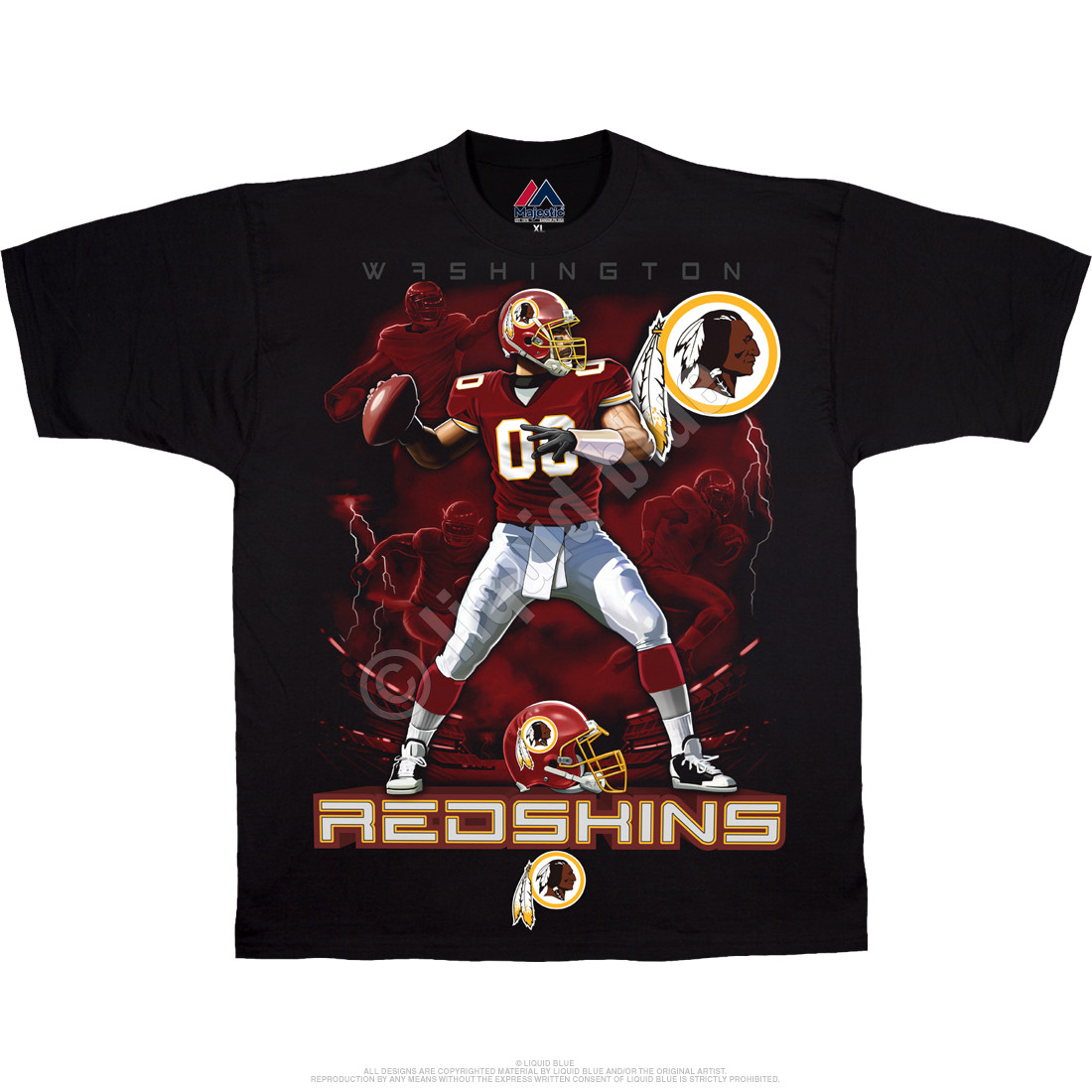 e4a619c29cc NFL Washington Redskins Quarterback Black T-Shirt Tee Liquid Blue