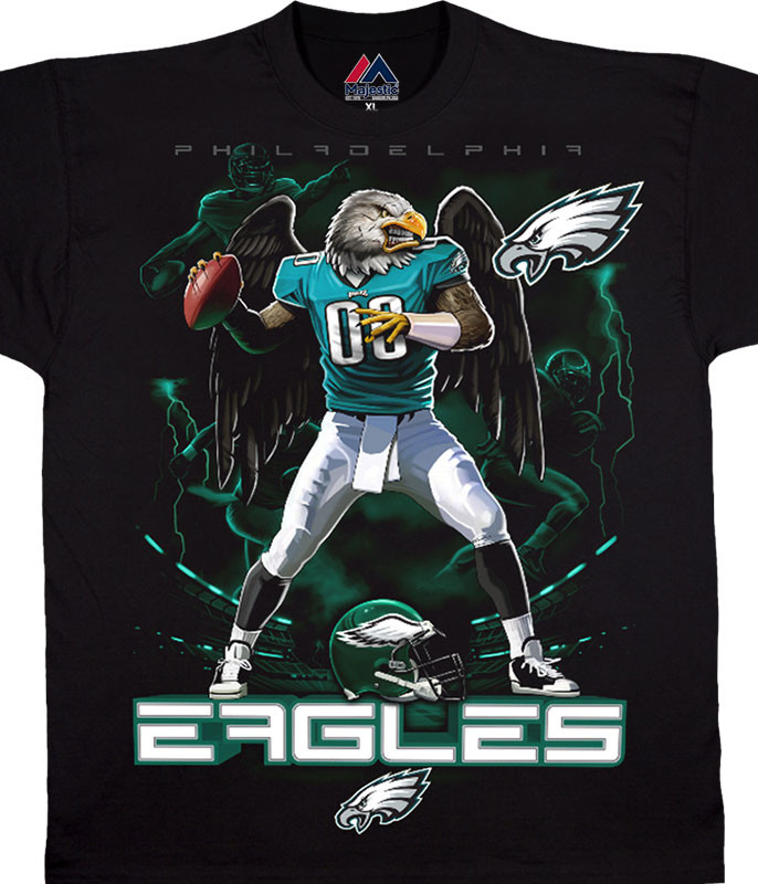 NFL Philadelphia Eagles Quarterback Black T-Shirt Tee Liquid Blue